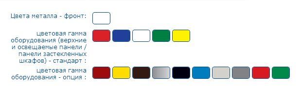 Цветовая гамма верхней панели холодильного шкафа