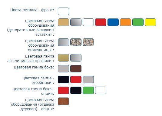 Цветовая гамма холодильной витрины